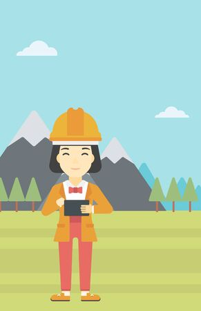 woman tablet: An asian woman in hardhat holding a tablet computer in hands on the background of mountain landscape. Woman working on digital tablet. Vector flat design illustration. Vertical layout.