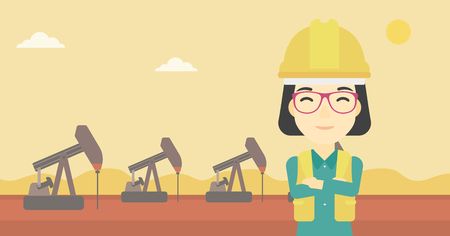 trabajador petroleros: An asian female oil worker in uniform and helmet. An oil worker with crossed arms. An oil worker standing on a background of pump jack. Vector flat design illustration. Horizontal layout.