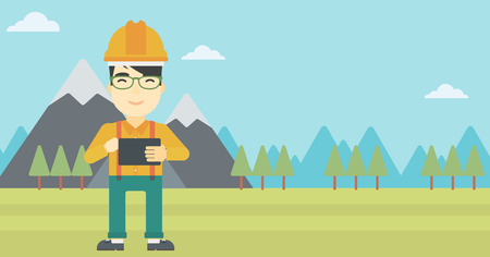 peak hat: An asian man in hardhat holding a tablet computer in hands on the background of mountain landscape. Man working on digital tablet. Vector flat design illustration. Horizontal layout.