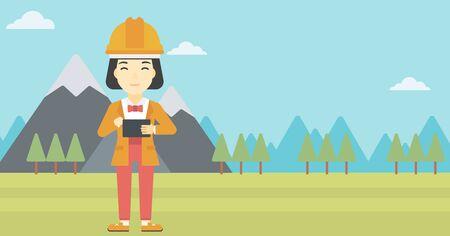 Una mujer asiática en el sombrero duro que sostiene un equipo Tablet PC en las manos sobre el fondo del paisaje de montaña. Mujer que trabaja en la tablilla digital. Vector de diseño plano ilustración. disposición horizontal.