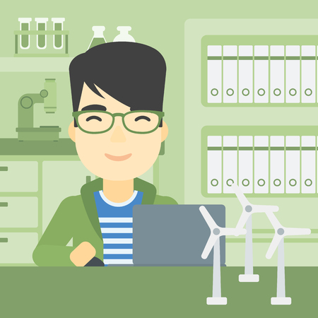 asian man laptop: An asian man working in office with laptop and model wind turbine on the table. Man working with model wind turbines. Green energy concept. Vector flat design illustration. Square layout.