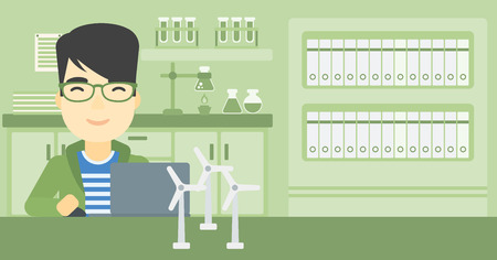 asian man laptop: An asian man working in office with laptop and model wind turbine on the table. Man working with model wind turbines. Green energy concept. Vector flat design illustration. Horizontal layout. Illustration