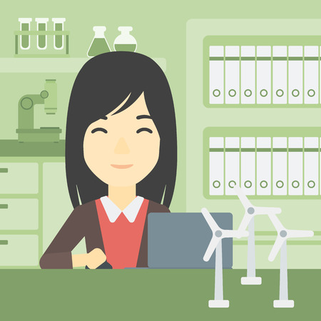 An asian woman working in office with laptop and model wind turbine on the table. Woman working with model wind turbines. Green energy concept. Vector flat design illustration. Square layout. Vettoriali