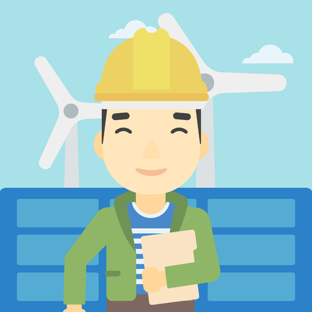 wind farm: An asian worker of solar power plant and wind farm. Man with folder on background of solar panel and wind turbine. Green energy concept. Vector flat design illustration. Square layout.