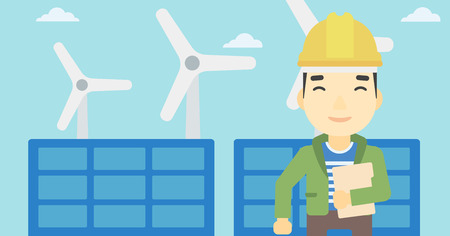 wind farm: An asian worker of solar power plant and wind farm. Man with folder on background of solar panel and wind turbine. Green energy concept. Vector flat design illustration. Horizontal layout. Illustration