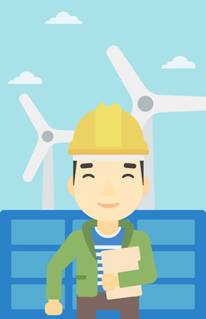 wind farm: An asian worker of solar power plant and wind farm. Man with folder on background of solar panel and wind turbine. Green energy concept. Vector flat design illustration. Vertical layout.