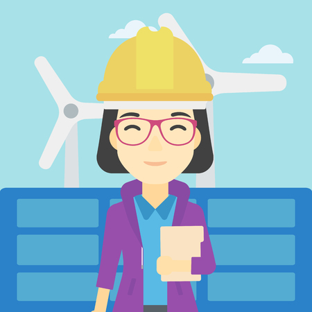 An asian worker of solar power plant and wind farm. Woman with folder on background of solar panel and wind turbine. Green energy concept. Vector flat design illustration. Square layout.