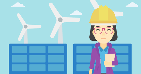 An asian worker of solar power plant and wind farm. Woman with folder on background of solar panel and wind turbine. Green energy concept. Vector flat design illustration. Horizontal layout. Vettoriali