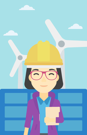 wind farm: An asian worker of solar power plant and wind farm. Woman with folder on background of solar panel and wind turbine. Green energy concept. Vector flat design illustration. Vertical layout.