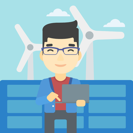 asian man laptop: An asian worker of solar power plant and wind farm. Man working on laptop on a background of solar power plant and wind turbines. Vector flat design illustration. Square layout.