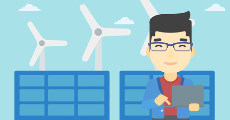 asian man laptop: An asian worker of solar power plant and wind farm. Man working on laptop on a background of solar power plant and wind turbines. Vector flat design illustration. Horizontal layout.