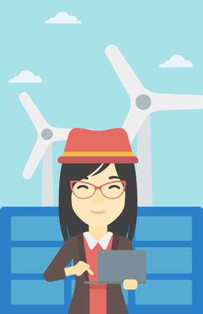wind farm: An asian female worker of solar power plant and wind farm. Woman working on laptop on a background of solar power plant and wind turbines. Vector flat design illustration. Vertical layout.