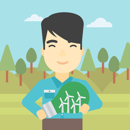 An asian man standing on the background of green forest and holding in hands a big light bulb with small wind turbines inside. Green energy concept. Vector flat design illustration. Square layout. Vettoriali