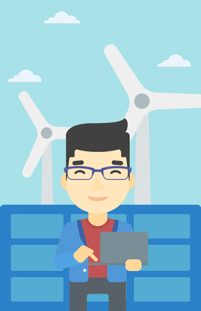 photovoltaic: An asian worker of solar power plant and wind farm. Man working on laptop on a background of solar power plant and wind turbines. Vector flat design illustration. Vertical layout. Illustration
