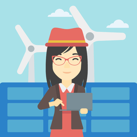 wind farm: An asian female worker of solar power plant and wind farm. Woman working on laptop on a background of solar power plant and wind turbines. Vector flat design illustration. Square layout.
