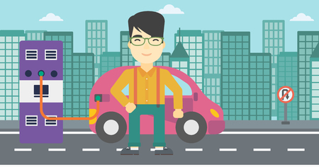 plugging: An asian man charging electric car at charging station in the city. Man standing near power supply for electric car charging. Vector flat design illustration. Horizontal layout. Illustration