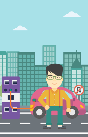 plugging: An asian man charging electric car at charging station in the city. Man standing near power supply for electric car charging. Vector flat design illustration. Vertical layout.