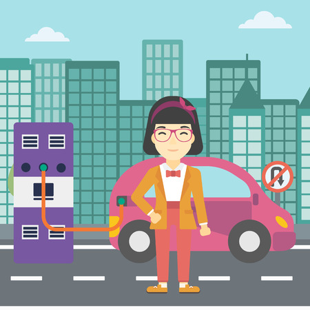 plugging: An asian young woman charging electric car at charging station in the city. Woman standing near power supply for electric car charging. Vector flat design illustration. Square layout. Illustration