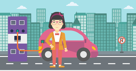plugging: An asian young woman charging electric car at charging station in the city. Woman standing near power supply for electric car charging. Vector flat design illustration. Horizontal layout.