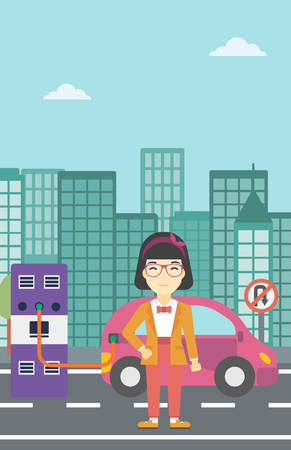 plugging: An asian young woman charging electric car at charging station in the city. Woman standing near power supply for electric car charging. Vector flat design illustration. Vertical layout. Illustration