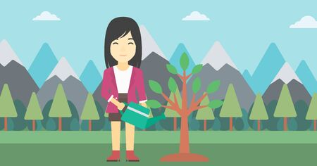An asian woman watering a tree on the background with mountain. Young friendly woman takes care of the environment. Vector flat design illustration. Horizontal layout. Illustration