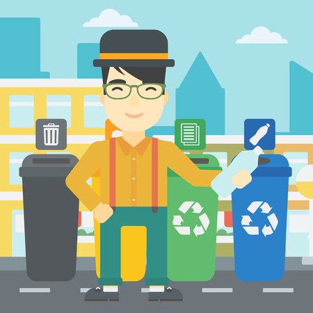 appropriate: An asian young man throwing away plastic bottle. Man standing near four bins in the city and throwing away plastic bottle in an appropriate bin. Vector flat design illustration. Square layout.