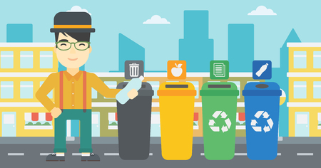 appropriate: An asian young man throwing away plastic bottle. Man standing near four bins in the city and throwing away plastic bottle in an appropriate bin. Vector flat design illustration. Horizontal layout. Illustration