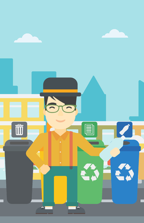 appropriate: An asian young man throwing away plastic bottle. Man standing near four bins in the city and throwing away plastic bottle in an appropriate bin. Vector flat design illustration. Vertical layout. Illustration