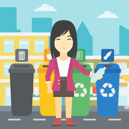appropriate: An asian woman throwing away plastic bottle. Woman standing near four bins in the city and throwing away plastic bottle in an appropriate bin. Vector flat design illustration. Square layout.
