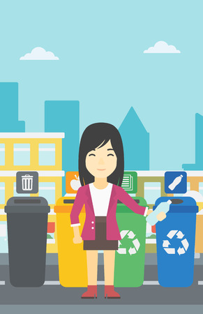 appropriate: An asian woman throwing away plastic bottle. Woman standing near four bins in the city and throwing away plastic bottle in an appropriate bin. Vector flat design illustration. Vertical layout.