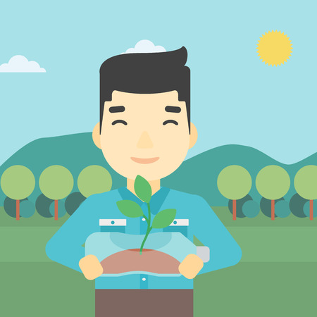 An asian young man holding in hands plastic bottle with plant growing inside. Man holding plastic bottle used as plant pot. Recycling concept. Vector flat design illustration. Square layout.