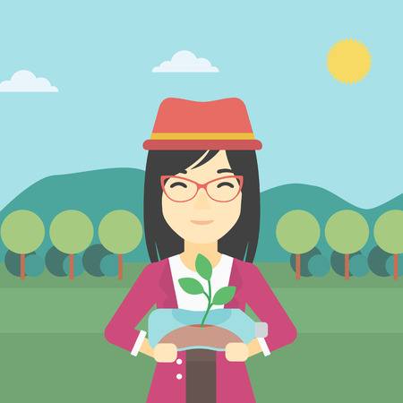 hands holding plant: An asian young woman holding in hands plastic bottle with plant growing inside. Man holding plastic bottle used as plant pot. Recycling concept. Vector flat design illustration. Square layout.