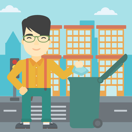 An asian young man throwing away a garbage in a green trash in the city. Man throwing away trash. Eco-friendly man throwing trash. Vector flat design illustration. Square layout.