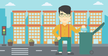 city man: An asian young man throwing away a garbage in a green trash in the city. Man throwing away trash. Eco-friendly man throwing trash. Vector flat design illustration. Horizontal layout. Illustration