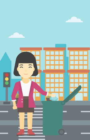 An asian young woman throwing away a garbage in a green trash in the city. Woman throwing away trash. Eco-friendly woman throwing trash. Vector flat design illustration. Vertical layout.
