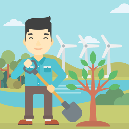 An asian young man plants a tree. Man standing with shovel near newly planted tree. Man planting tree on a background of wind turbines. Vector flat design illustration. Square layout. Illustration