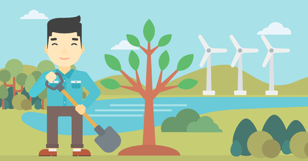 An asian young man plants a tree. Man standing with shovel near newly planted tree. Man planting tree on a background of wind turbines. Vector flat design illustration. Horizontal layout.
