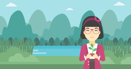 small plant: An asian young woman holding in hands a small plant in soil on the background of landscape with mountains and river. Vector flat design illustration. Horizontal layout. Illustration