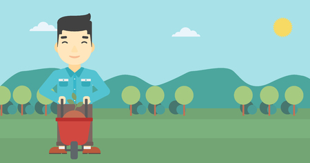 young man standing: An asian young man standing with a plant and soil in a wheelbarrow on the background of mountain landscape. Vector flat design illustration. Horizontal layout.