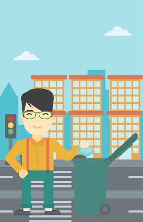 city man: An asian young man throwing away a garbage in a green trash in the city. Man throwing away trash. Eco-friendly man throwing trash. Vector flat design illustration. Vertical layout.