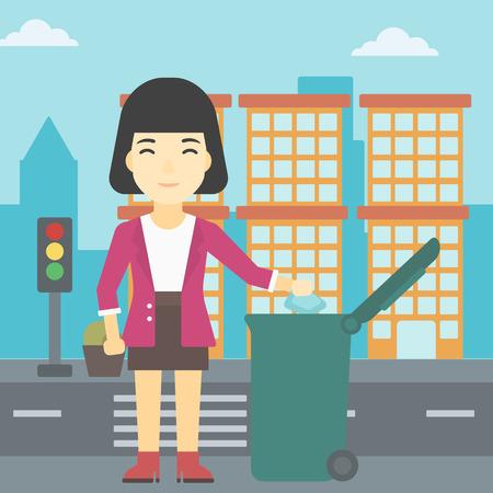 Een Aziatische jonge vrouw weg te gooien een vuilnisbak in een groen afval in de stad. Vrouw weg te gooien prullenbak. Eco-vriendelijke vrouw prullenbak gooien. Vector platte ontwerp illustratie. Vierkante lay-out. Vector Illustratie