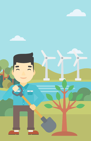ecologically: An asian young man plants a tree. Man standing with shovel near newly planted tree. Man planting tree on a background of wind turbines. Vector flat design illustration. Vertical layout.