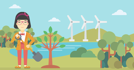 An asian young woman plants a tree. Woman standing with shovel near newly planted tree. Woman planting tree on a background of wind turbines. Vector flat design illustration. Horizontal layout.