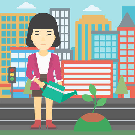 An asian young woman watering a tree on a city background. Eco-friendly woman takes care of the environment. Vector flat design illustration. Square layout. Illustration