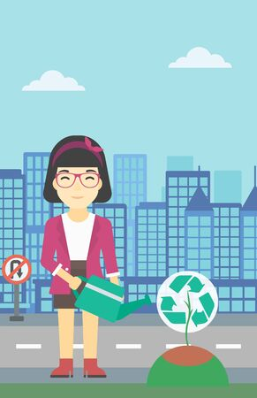 An asian young woman watering a tree with a recycle sign instead of crown on a city backround. Eco-friendly woman takes care of the environment. Vector flat design illustration. Vertical layout. Illustration