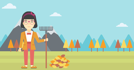 An asian young woman raking autumn leaves. Woman with rake standing near tree and heap of autumn leaves. Woman tidying autumn leaves in garden. Vector flat design illustration. Horizontal layout. Illustration