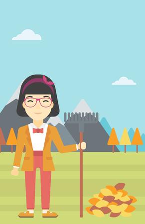 raking: An asian young woman raking autumn leaves. Woman with rake standing near tree and heap of autumn leaves. Woman tidying autumn leaves in garden. Vector flat design illustration. Vertical layout.