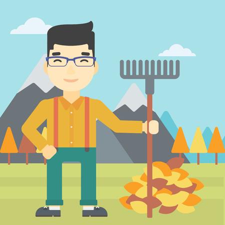 raking: An asian young man raking autumn leaves. Man with rake standing near tree and heap of autumn leaves. Man tidying autumn leaves in garden. Vector flat design illustration. Square layout.