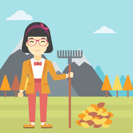 raking: An asian young woman raking autumn leaves. Woman with rake standing near tree and heap of autumn leaves. Woman tidying autumn leaves in garden. Vector flat design illustration. Square layout.