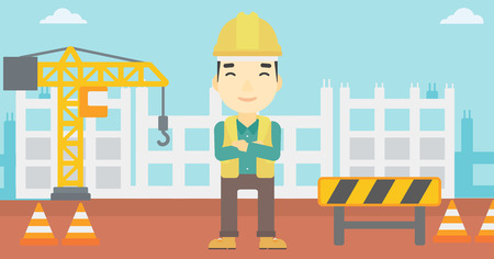 An asian builder with arms crossed. Confident builder on a background of construction site. Builder in helmet on background of road works. Vector flat design illustration. Horizontal layout. Vetores